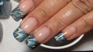French Tip Water Marble Nail Art Tutorial (Water Marble March 2013 #7)