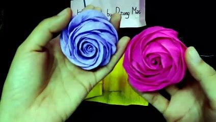 Paper flowers tutorial - Make a crepe paper rose flower easy 2017