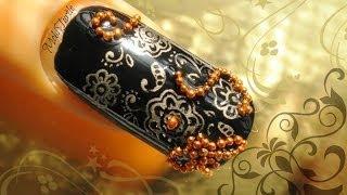 Arabic Black Gold Nail Art | 1 MINUTE TUTORIAL