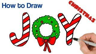 How to Draw Christmas Wreath JOY | Christmas Drawings Art Tutorial