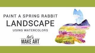 Spring Rabbit Landscape Watercolor Painting Tutorial