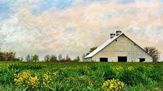White Barn Landscape Acrylic Painting LIVE Tutorial