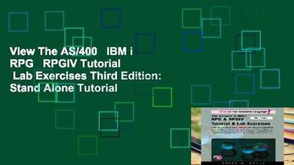 View The AS/400   IBM i RPG   RPGIV Tutorial   Lab Exercises Third Edition: Stand Alone Tutorial