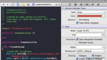 IOS Tutorial - UIWebview - Activity Indicator Example (UIActivityIndicator) Xcode 4.5 Pt2