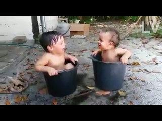 Funny baby play in Tin , Hilarious Laughing