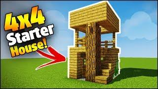 Minecraft: 4X4 Starter House Tutorial - How to Build a House in Minecraft