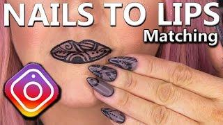 Matching Nails and Lips Design - Nail Tutorial - Geometric Matte Look Nails and Lips