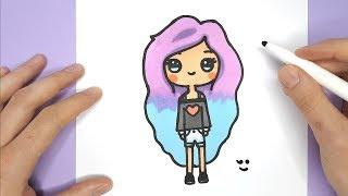 How to Draw a cute tumblr girl  - Easy Drawing Tutorial - Happy Drawings