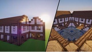 Minecraft - Medieval Town Center House(s) - Tutorial (Danish)