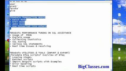 TeraData SQL Video  Tutorial | TeraData Architecture  Online Demo