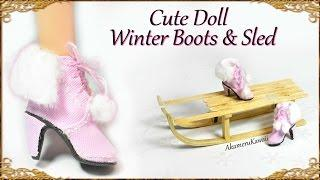 DIY Cute Doll / Barbie Winter Boots & Sled - Mixed Media Tutorial