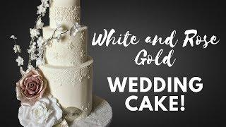 Winter Inspired White/Rose Gold Floral Wedding Cake Tutorial! | DIY Wedding Cake