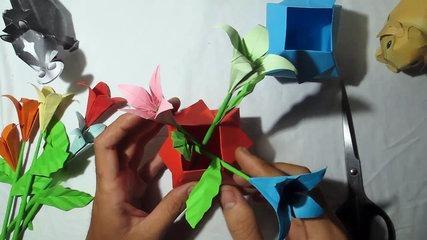 DIY pots | how to make a origami pots flower tutorial | comment faire un tutoriel de fleurs en pots