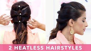 2 Quick & Easy Heatless Hairstyles | Glamrs Tutorial with Hair Hacks