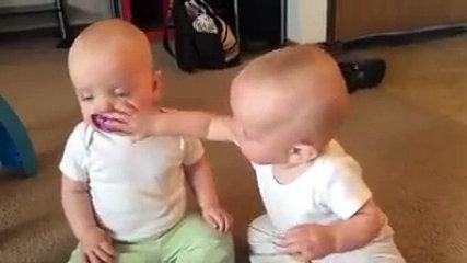 Funny twins baby