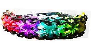 HOW TO MAKE A RAINBOW LOOM STARBUST BRACELET WITH RUBBER BANDS. TUTORIAL DIY.