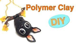 Baby Bat Necklace/Pendant- Polymer clay- tutorial-DIY- Fimo
