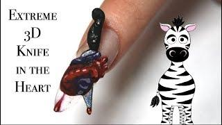 Extreme 3D Knife in the Heart Acrylic Nail Art Tutorial