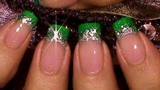 Easy Green Glitter Glitz French Manicure Nail Art Tutorial