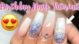 Birthday ombre coffin nails tutorial