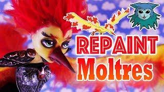 Tutorial: Repaint Moltres Pokémon Luna Mothews Ooak custom doll Monster High