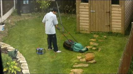 Grass cutting, funny neighbours - he
