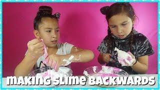 MAKING SLIME BACKWARDS BALLOON POP CHALLENGE Making slime with balloons tutorial