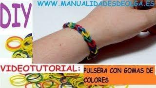 COMO HACER UNA PULSERA FACIL DE MODA CON GOMITAS (LIGAS) DE COLORES TUTORIAL DIY