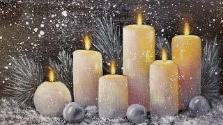 Christmas Candles Acrylic Painting LIVE Tutorial