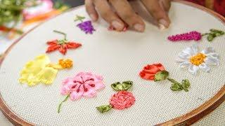 10 RIBBON EMBROIDERY FLOWERS: Hand Stitching Tutorial for Beginners
