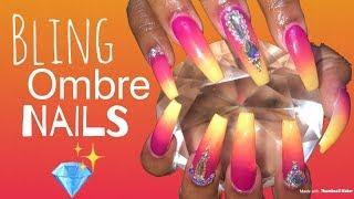 Acrylic Nails Fill in Tutorial | Bling Ombre Nails