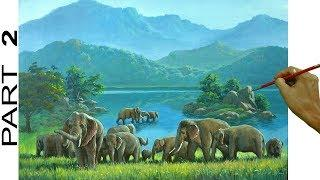 Landscape Painting with lake and Elephants | Acrylic Painting Tutorial | Part 2