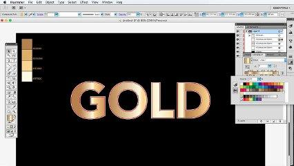 Illustrator Tutorial: How to create golden gradient text or object in illustrator