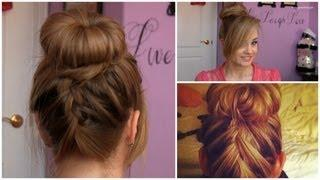 SOCK BUN With Upside-Down French Braid Tutorial (5 MIN UPDO)