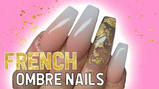 French ombre coffin nails tutorial | VOICEOVER