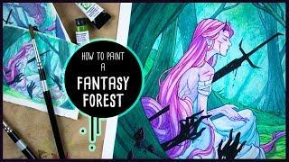 How to Paint a Fantasy Forest • Watercolor Painting Tutorial