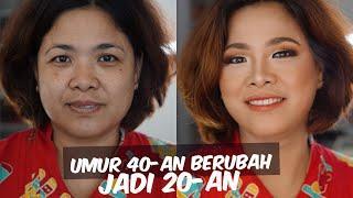 Tutorial Makeup Awet Muda Pakai Makeup Drugstore | Makeover Ibu-ibu 40 Tahun jadi 20 tahun