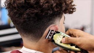 LONG CURLY HAIR TAPER FADE HAIRCUT TUTORIAL