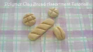 Polymer Clay Bread Assortment Tutorial! (Baguette, Melon Bun, Italian Roll,&Bun)