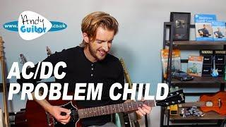 AC/DC Problem Child EASY Electric Guitar Lesson tutorial