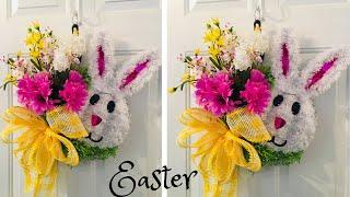 Easy and inexpensive Dollar Tree Splatter Screen Easter Wreath Tutorial