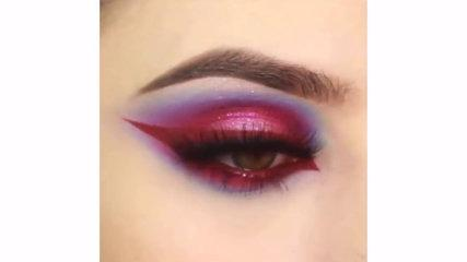 Best Makuep Tutorial - Lavender Makeup with Red Eyeliner