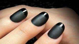 YSL Inspired Tuxedo Nails -  Black French Manicure Tutorial In Glossy And Matte Duo DIY