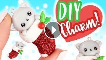 Polymer Clay Christmas Charms.Diy Kawaii Kitten In Christmas Stocking Charm Polymer Clay