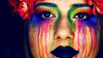 Colorful Rainbow Tears Make Up Tutorial