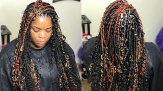 HOW TO DO TRIANGLE BOX BRAIDS AND CURLS - VERY DETAILED TUTORIAL