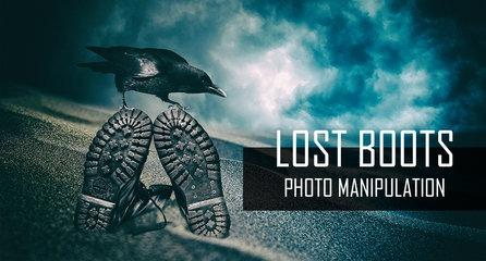 Lost boots - Fantasy Surreal Scene - Photoshop Tutorial - Photo Manipulation