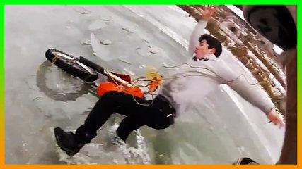 Funny People Falling on Ice