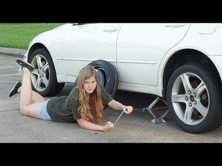 Funny Guide to Changing a Flat Tire for Women