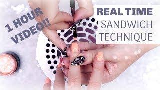 REAL TIME GEL NAILS | SANDWICH TECHNIQUE | TUTORIAL